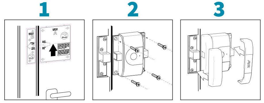 Esquema de montaje cerradura int-LOCK